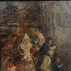 Arte: EUGENIO LUCAS VILLAAMIL (MADRID, 1858-1919) A LA SALIDA DE LA IGLESIA. ÓLEO SOBRE LIENZO. Lote 141649770