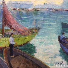 Arte: JOAQUIM PIJOAN I ARBOCER (SANTA CRISTINA DE ARO, GIRONA,1948) PESCADORES. ÓLEO SOBRE LIENZO. Lote 141651190