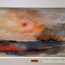 Arte: PINTURA ACUARELA - VAIXELLS DE JOSEP MARFA GUARRO - BARCELONA - Nº1 C -. Lote 141666306
