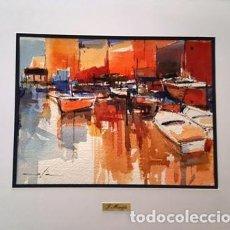 Arte: PINTURA ACUARELA - VAIXELLS AL PORT DE JOSEP MARFA GUARRO - BARCELONA - Nº1 C -. Lote 141666430