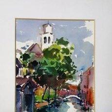 Arte: PINTURA ACUARELA - CANAL SAN TROVASO DE JOSEP MARFA GUARRO - BARCELONA - Nº1 C -. Lote 141738266