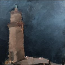 Arte: XOAN GUERREIRO (LUGO, 1956) FARO DE MUXÍA. ÓLEO SOBRE CARTULINA SOBRE TABLA. Lote 141761902