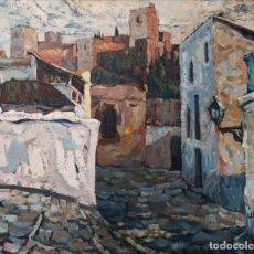 Arte: RAFAEL ÚBEDA PIÑEIRO (PONTEVEDRA, 1932). PUEBLO. ÓLEO SOBRE LIENZO. Lote 141771402