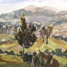 Arte: SEVILLANO, ÁNGEL. (VIGO, 1942-1994) PAISAJE. ACUARELA. Lote 141777762