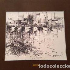 Arte: PINTURA - DUBUJO A TINTA - BARQUES - DE JOSEP MARFA GUARRO - BARCELONA - Nº1 C -. Lote 141814222