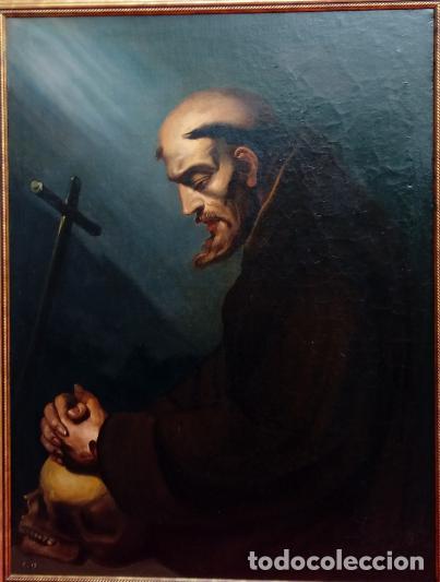 ÓLEO S/LIENZO -SAN FRANCISCO EN ORACIÓN- DE JOSÉ MARÍA RODRÍGUEZ LOSADA-. DIM.- 115.5X92.5 CMS. (Arte - Pintura - Pintura al Óleo Moderna siglo XIX)