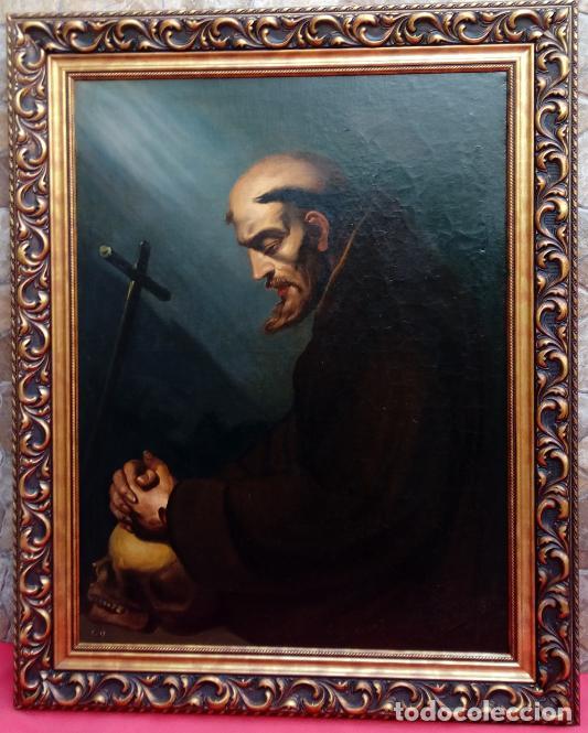 Arte: ÓLEO S/LIENZO -SAN FRANCISCO EN ORACIÓN- DE JOSÉ MARÍA RODRÍGUEZ LOSADA-. DIM.- 115.5X92.5 CMS. - Foto 2 - 141880258