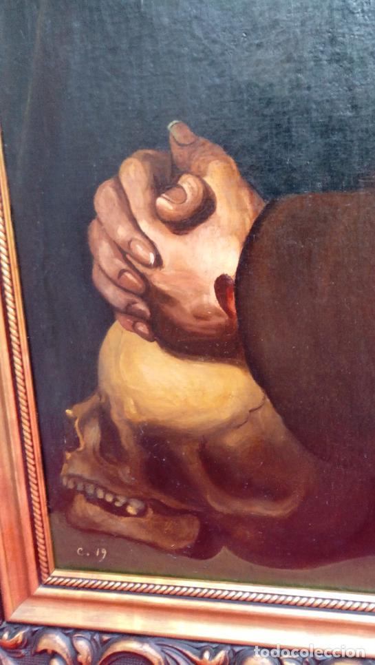 Arte: ÓLEO S/LIENZO -SAN FRANCISCO EN ORACIÓN- DE JOSÉ MARÍA RODRÍGUEZ LOSADA-. DIM.- 115.5X92.5 CMS. - Foto 5 - 141880258