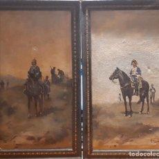 Arte: PAREJA DE ÓLEOS ENMARCADOS. FINALES S. XIX. FIRMADO POR HERVÁS.. Lote 141898470