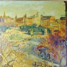 Arte: PLAZA CATALUÑA, BARCELONA. ÓLEO SOBRE TABLEX. ALBERTO MUÑOZ BOQUERA (1925).. Lote 142050198