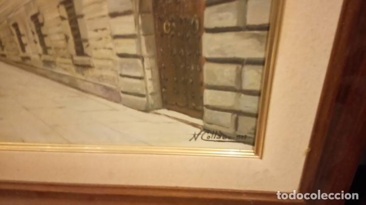 Arte: Pintura realista al oleo de la calle del Bisbe (carrer del Bisbe) de Barcelona Nuria Collado. cuadro - Foto 2 - 142051982
