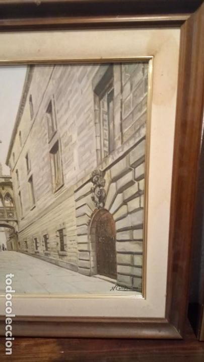 Arte: Pintura realista al oleo de la calle del Bisbe (carrer del Bisbe) de Barcelona Nuria Collado. cuadro - Foto 3 - 142051982