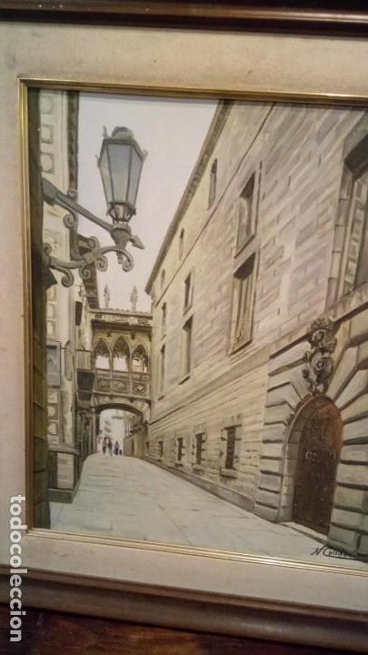 Arte: Pintura realista al oleo de la calle del Bisbe (carrer del Bisbe) de Barcelona Nuria Collado. cuadro - Foto 4 - 142051982