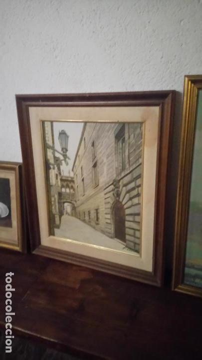 Arte: Pintura realista al oleo de la calle del Bisbe (carrer del Bisbe) de Barcelona Nuria Collado. cuadro - Foto 5 - 142051982