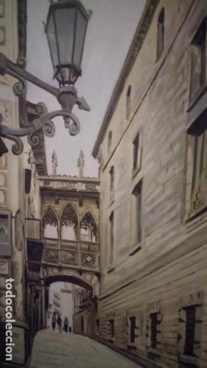 Arte: Pintura realista al oleo de la calle del Bisbe (carrer del Bisbe) de Barcelona Nuria Collado. cuadro - Foto 11 - 142051982