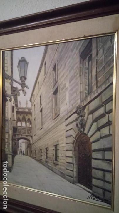 Arte: Pintura realista al oleo de la calle del Bisbe (carrer del Bisbe) de Barcelona Nuria Collado. cuadro - Foto 12 - 142051982