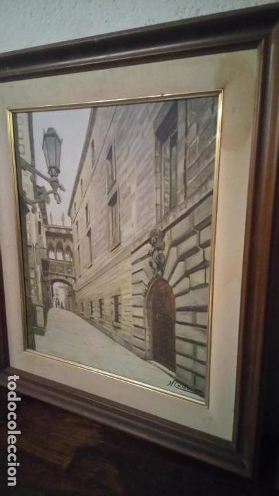 Arte: Pintura realista al oleo de la calle del Bisbe (carrer del Bisbe) de Barcelona Nuria Collado. cuadro - Foto 14 - 142051982