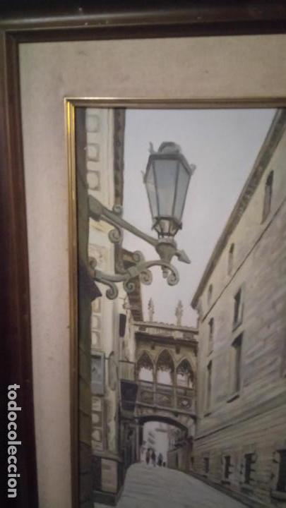 Arte: Pintura realista al oleo de la calle del Bisbe (carrer del Bisbe) de Barcelona Nuria Collado. cuadro - Foto 16 - 142051982