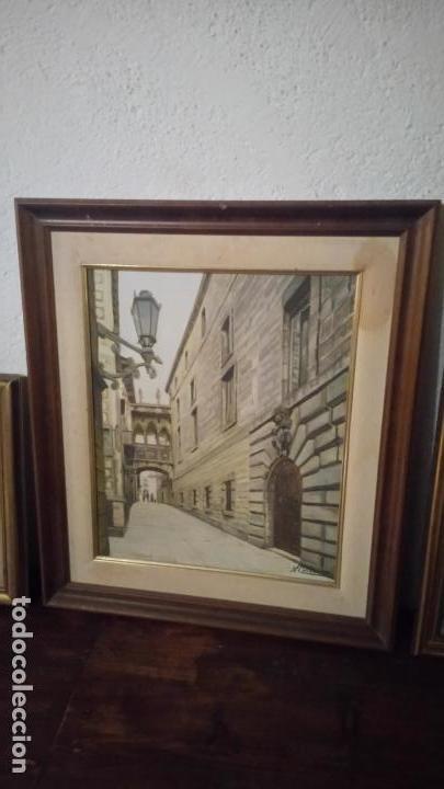 Arte: Pintura realista al oleo de la calle del Bisbe (carrer del Bisbe) de Barcelona Nuria Collado. cuadro - Foto 17 - 142051982