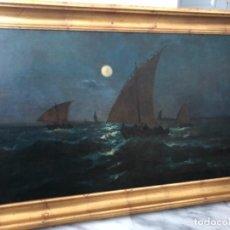 Arte: MARINA NOCTURNA . ESCUELA MALAGUEÑA . FIRMADO Y FECHADO EN MALAGA 1890 . 100 X 59 CM. Lote 142052034