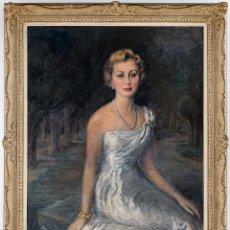 Arte: ASUN ASARTA (1905-1986) - RETRATO DE MUJER DE GALA (1957) LIENZO 115*88CM. BIEN ENMARCADO 138*110CM. Lote 142086686