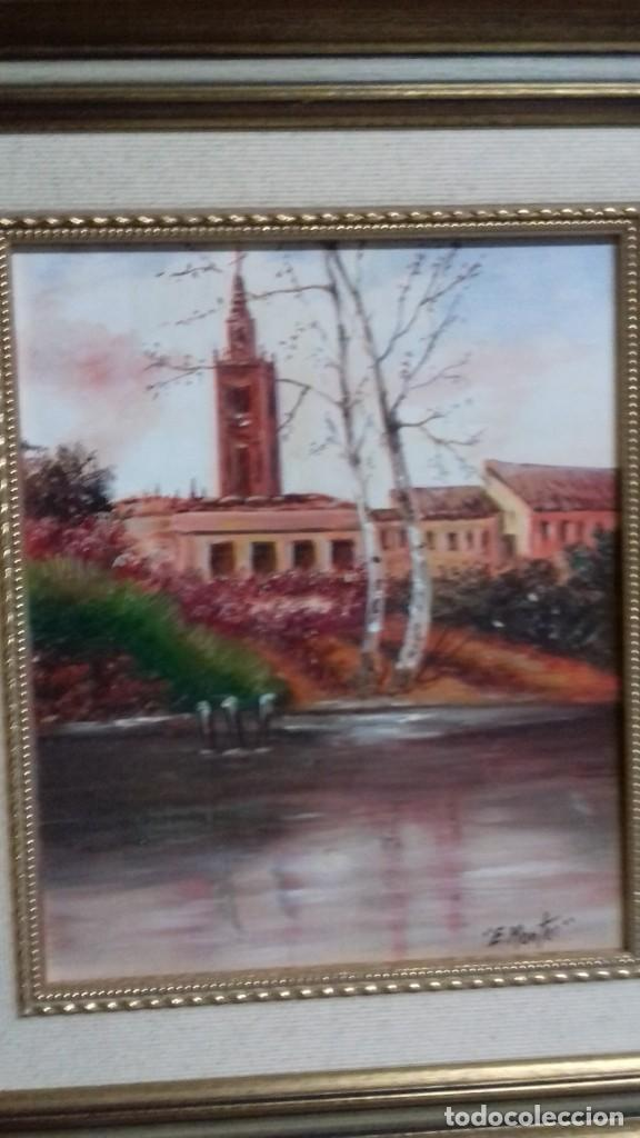 ENRIQUE MONTES. PINTOR JEREZANO. PAISAJE TABLA 28X22. (Arte - Pintura - Pintura al Óleo Contemporánea )