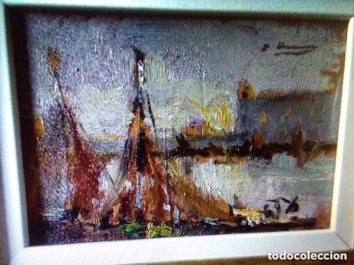 Arte: ASENCIO MARINE JOAQUIM ( TAMAÑO POSTAL) Oleo sobre tabla - Foto 2 - 142181062