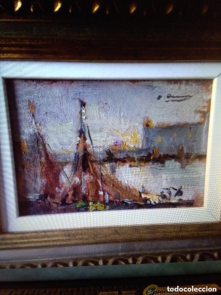 Arte: ASENCIO MARINE JOAQUIM ( TAMAÑO POSTAL) Oleo sobre tabla - Foto 3 - 142181062