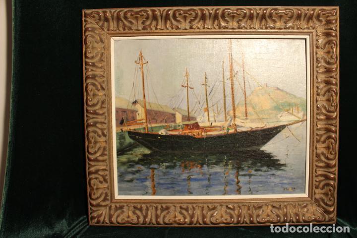 OLEO SOBRE LIENZO GOLETA FIRMA BAUZA MALLORCA (Arte - Pintura - Pintura al Óleo Moderna siglo XIX)