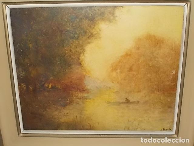 Arte: IMPRESIONANTE ÓLEO DE LUCIEN FRANK CON MARCO DE LOS BENNÀSSAR. INCLUYE PANFLETO EN EL REVERSO. - Foto 2 - 142226058