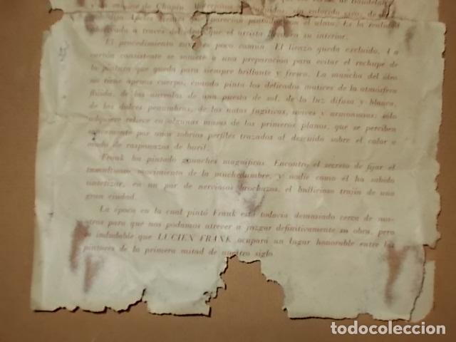 Arte: IMPRESIONANTE ÓLEO DE LUCIEN FRANK CON MARCO DE LOS BENNÀSSAR. INCLUYE PANFLETO EN EL REVERSO. - Foto 13 - 142226058