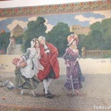 Arte: ANTIGUO TAPIZ PINTADO AL OLEO GRAN TAMAÑO CIRCA 1900 -1920. Lote 142257914