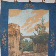 Arte: ANTIGUO TAPIZ PINTADO AL OLEO GRAN TAMAÑO CIRCA 1900 -1920. Lote 142258378
