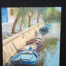Arte: BARCAS DE PESCA AMARRADAS POR EL ARTISTA F.BELTRAN 2009. Lote 142322230