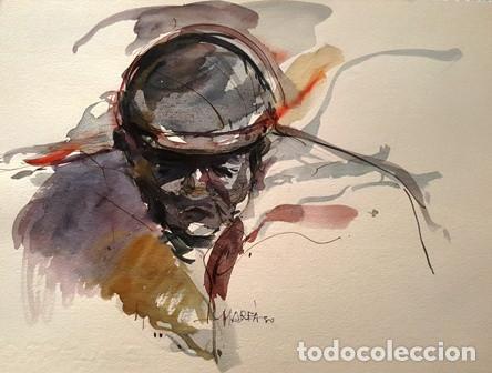DIBUJO ACUARELA - ROSTRO HUMANO - DE JOSEP MARFA GUARRO DE BARCELONA - 1980 - (Arte - Pintura Directa del Autor)
