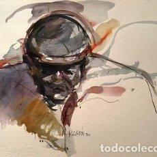 Arte: DIBUJO ACUARELA - ROSTRO HUMANO - DE JOSEP MARFA GUARRO DE BARCELONA - 1980 -. Lote 142369426