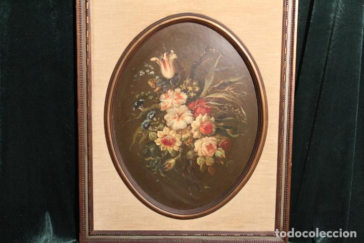 OLEO SOBRE TABLEX FLORERO OVAL (Arte - Pintura - Pintura al Óleo Antigua sin fecha definida)