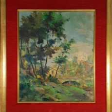 Arte: PAISAJE DE SANT FELIU DE PALLAROLS. ÓLEO SOBRE LIENZO. AMADEU FONTANET. 1952.. Lote 142409710