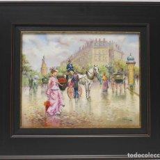Arte: TARDE PARISINA - CARBONELL - OLEO SOBRE LIENZO - 62X54 CM. Lote 142426126