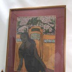 Arte: ESTACION DEL NORTE VALENCIA PUERTA GRIEGA CUADRO PINTURA 93X73CM CARMEN GARCIA GORDILLO. Lote 142508230