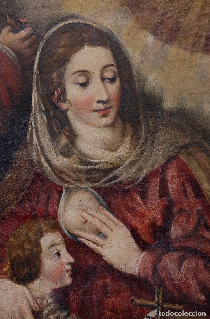 Arte: Las dos trinidades, Escuela española s.XVII. Óleo sobre lienzo 170x135 cm. - Foto 2 - 142536954
