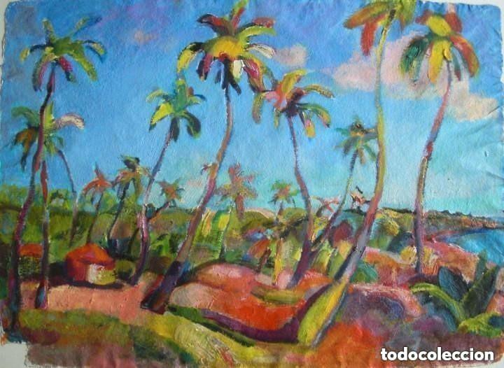 JORDI SANTACANA ÓLEO/PAPEL ECOLÓGICO 75 X 55 CM. PAISAJE DE GOA (INDIA). FIRMADO Y FECHADO. (Arte - Pintura - Pintura al Óleo Contemporánea )