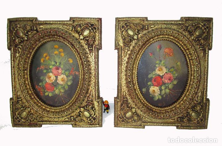 Arte: PAREJA OLEOS FLORAL PEDRO VALLS (1840- 1896) IGUALADA EN MARCO ISABELINO DORADO - Foto 3 - 142606014