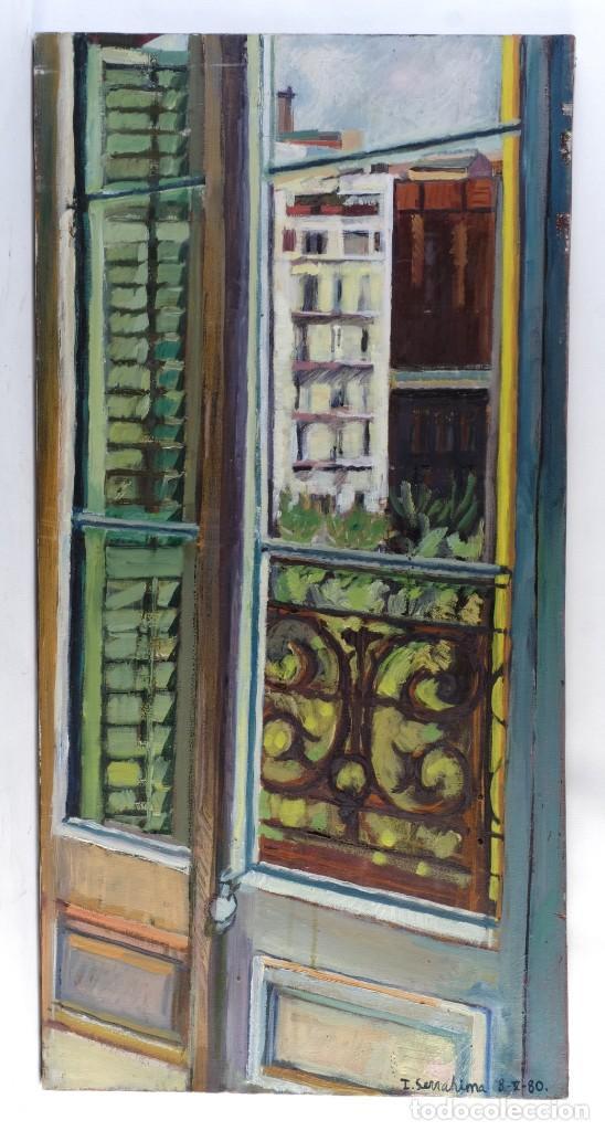 Arte: Isabel Serrahima Óleo sobre lienzo Vista ventana Firmado y fechado 1980 - Foto 2 - 142607278