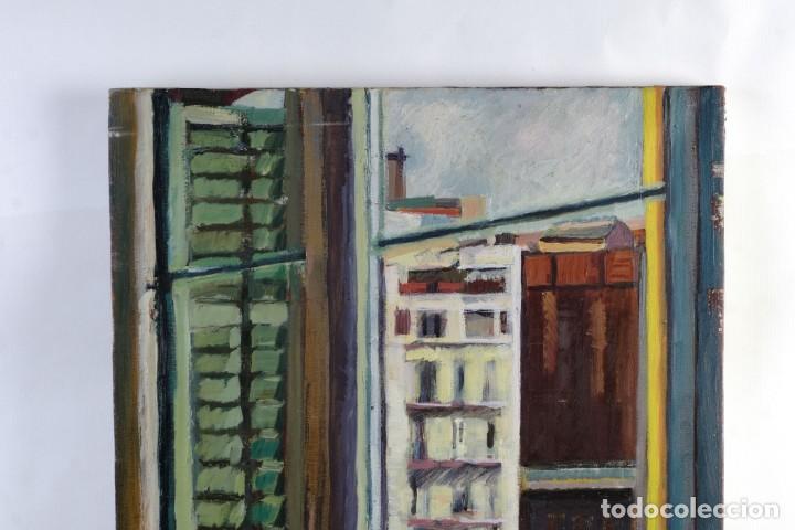 Arte: Isabel Serrahima Óleo sobre lienzo Vista ventana Firmado y fechado 1980 - Foto 4 - 142607278