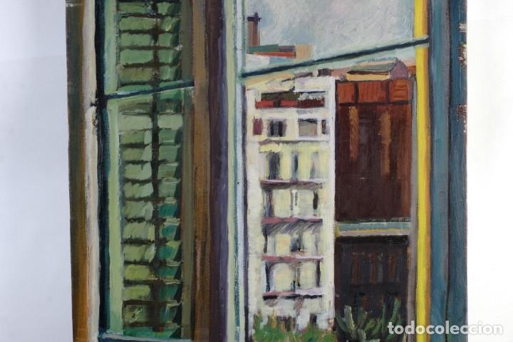 Arte: Isabel Serrahima Óleo sobre lienzo Vista ventana Firmado y fechado 1980 - Foto 5 - 142607278