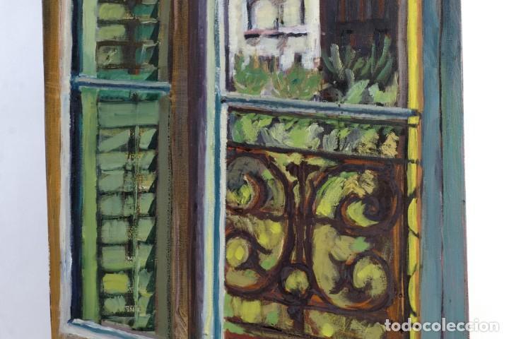 Arte: Isabel Serrahima Óleo sobre lienzo Vista ventana Firmado y fechado 1980 - Foto 6 - 142607278