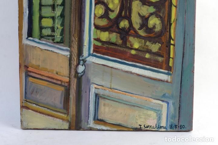 Arte: Isabel Serrahima Óleo sobre lienzo Vista ventana Firmado y fechado 1980 - Foto 7 - 142607278