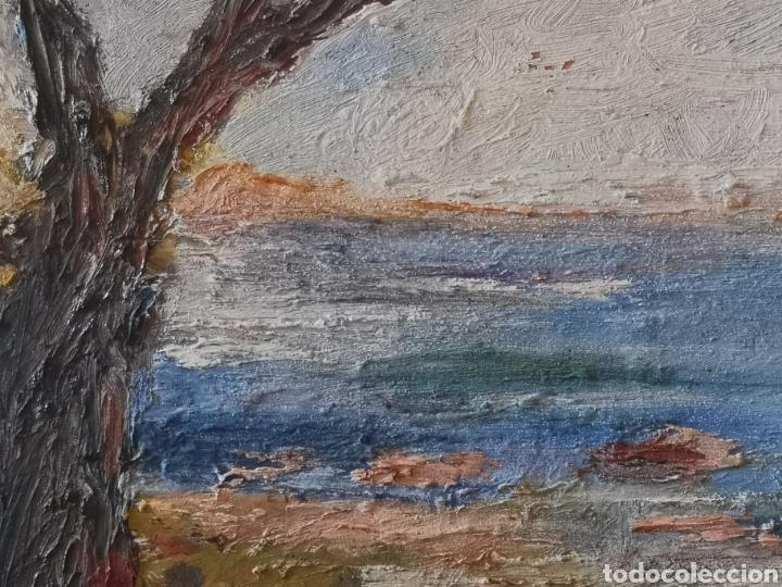 Arte: Óleo sobre tabla impresionista. Firma ilegible. Enmarcado 46x39cm - Foto 2 - 142668517