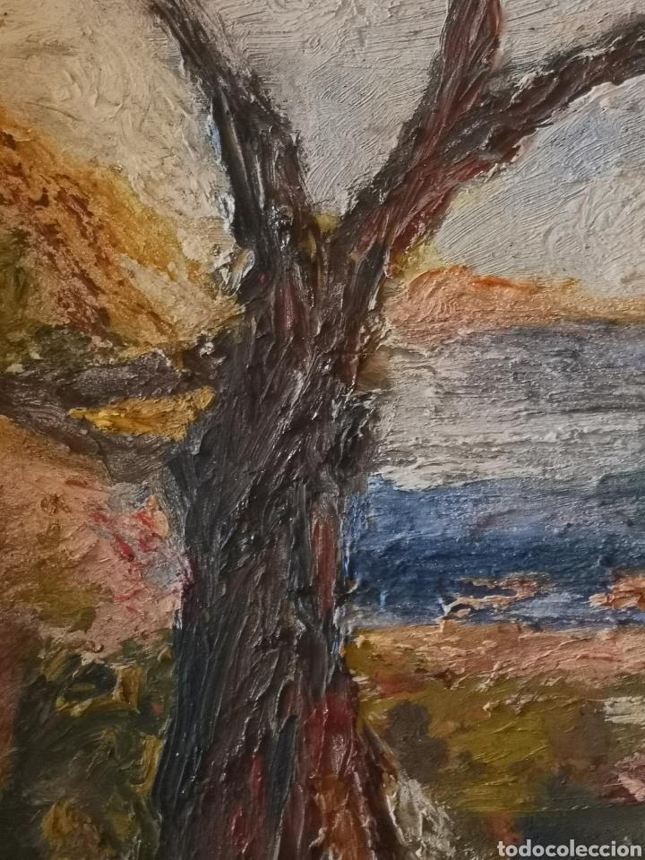 Arte: Óleo sobre tabla impresionista. Firma ilegible. Enmarcado 46x39cm - Foto 5 - 142668517